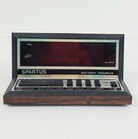 Vintage Spartus Digital Alarm Clock Model 1140 Wood Grain Red Display Retro