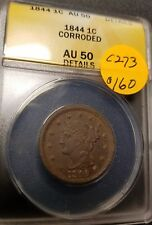 1844 Certified Braided Hair Large Cent, AU50, C273