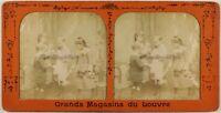 Francia Scena Da Genere Bambini Foto c1880 Diorama Stereo Vintage Albumina