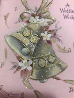 Vintage Wedding Card MCM Hallmark Glitter Pink Gold Bells Music Notes LG