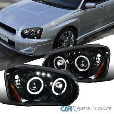 Fit Subaru 04-05 Impreza LED Halo Pearl Black Projector Headlights Head Lamps