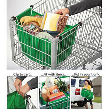 Foldable Reusable Supermarket Trolley Shopping Bags Tote Grab Bags with Clips
