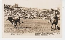 """1946 Rodeo Real Photo Post Card """"Steer Bustin"""" Pendleton Round-Up"""