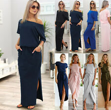 Women Off The Shoulder Long Dress Side Slit Summer Party Cocktail Maxi Sun Dress