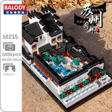 Balody Architecture Garden House Courtyard Lake Mini Diamond Blocks Building Toy