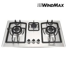 "28"" Stainless Steel Built-in 3 Burner Stoves NG/LPG Gas Cooktop & Conversion Kit"