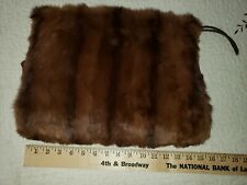 Large Brown Fur Muff Hand Warmer w/Lining and Strap vintage
