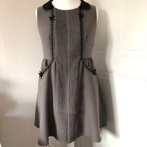 Darling Khaki Sleeveless Skater Dress Size M Lace Black Trim Collar Pockets Bows