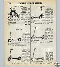 1939 40 PAPER AD Pioneer Brand Sidewalk Scooter Tricycle