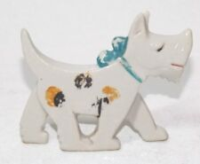 Vintage Art Deco flat Porcelain polka dotted Dog Scottie figurine FREE SHIP USA