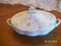 Henry Alcock & Co Semi Porcelain Vtg Covered Vegetable Casserole Dish Floral