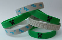 Set of 6 Minecraft Silicone Bracelets - Green and Gray - Great Birthday Gifts
