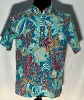 Vtg Reyn Spooner Hawaiian Traditionals Fish Ocean Lobster Medium Blue Polo Shirt