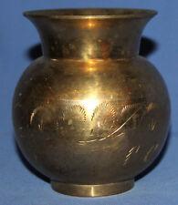 Vintage Hand Made Floral Engraved Brass Vase