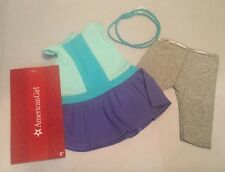 NEW American Girl Color Block Dress Outfit with Leggings, Headband