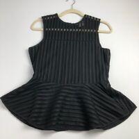 HD in Paris Anthroplogie Women's Peplum Sleeveless Blouse Black Medium M Back