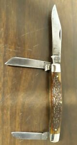 Vintage Queen Steel Cutlery Knife 1932-1955 3 Blade Horn Handle