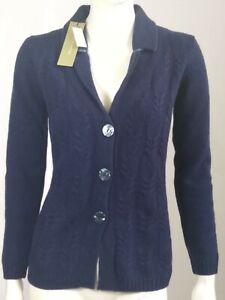 cardigan donna in lana Made In Italy TG S blu e marrone