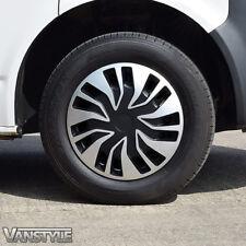 x4 Fast Van 15 Inch Wheel Trim Set Trims Hub Cap Covers Black Silver Set of 4