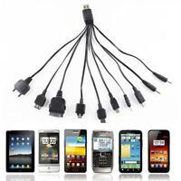 10 in 1 Schwarz Multifunktion USB Ladegerät Ladekabel für Handy iPhone Universal