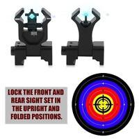 2PCS Premium Tactical Diamond Aperture Flip Up Front Rear Iron Sights Sport USA