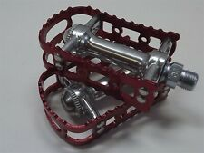 New MKS BM-7 BMX 9/16 Pedals Old School Bmx Red Anodized