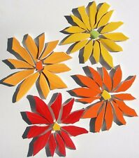 Large Red, Yellow, Orange Daisy Flower Mosaic Tiles Broken Cut China Plate