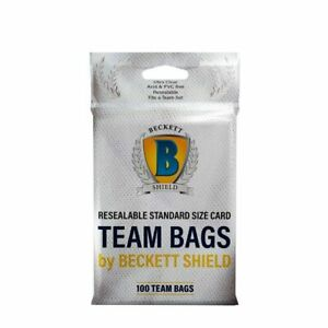 Resealable Team Set Bags Beckett Shield Brand Pack of 100-Holds Top Loaders