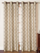 Set of Two (2) Grommet Window Curtain Panels: Faux Silk, Taupe with Chocolate