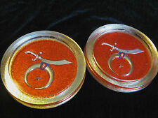 Lot of 2  Drink Coasters With Masonic/Shriners Theme -- Corked Bottoms