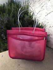 LARGE PINK PLAID MESH REUSABLE BEACH/SHOPPING TOTE BAG