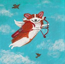 4X4 Print Of Painting Ryta Pembroke Welsh Corgi Valentines Day Angel Cupid Gift