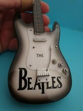 Miniature Guitar 🎵 BEATLES With Stand Collector's Hand Made 🎵 FAST POST