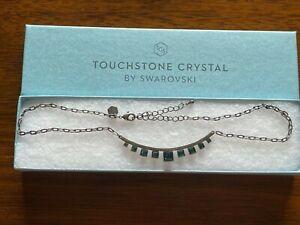 NEW Touchstone Crystal Swarovski Retired Necklace Green Stones Vintage Finish