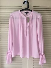 NWT J. Crew Tie-Sleeve Top With Pintucks Pale Lilac Pink Size M