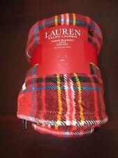 lauren fleece tartan blanket throw by ralph lauren 60x70 nwt red