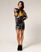 French Connection Black Multi Print Stretch Bodycon Tunic Mini Dress Size 12