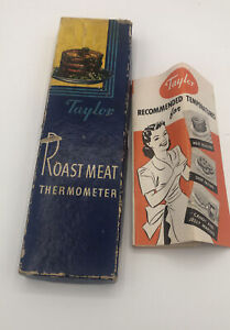 Vintage Taylor Roast Meat Thermometer with Instructions and Original Box