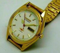 Citizen Automatic Men's Gold Plated Day Date Vintage 8200 17 Jewels Japan Watch