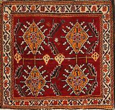 Vintage Geometric Square Kashkoli Abadeh Qashqai Persian Area Oriental Rug 2x2
