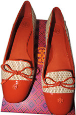 Tory Burch Orange Patent Leather Straw Woven Ballet Flats Shoes  9- 39 Ballerina