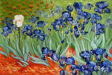 Van Gogh Field with Irises Repro, Quality Hand Painted Oil Painting 24x36in