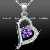 Women Gifts Silver 925 Amethyst Necklace Girls Christmas Presents for Her Mum A1