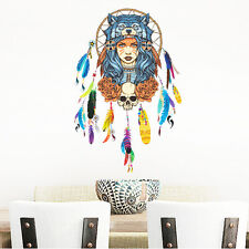 Indian Girl Flower Feather Wall Sticker DIY Removable Decal Mural Art Home Decor
