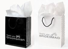 12 THANK YOU Gift Bags Groomsmen & Bridesmaid Black White Wedding Bridal Party