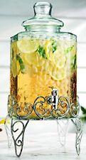 Palais Glassware Hammered Beverage Dispenser - 2.25 Gallon, Antique White Stand