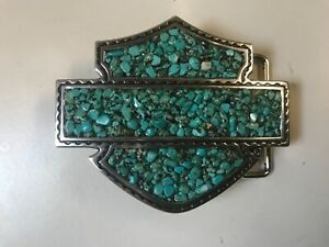 Harley-Davidson Bar&Shield belt buckle. turquoise stones.silver.#.HDWBU10209.