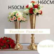 Tall Vase Gold Trumpet Vases Polished Metal Wedding Centerpieces Vases 24 inches
