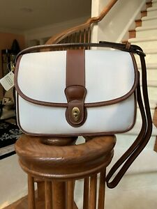 BRAND NEW VINTAGE COACH GLENWOOD SADDLE BAG IN WHIT & BROWN WITH SHOULDER STRAP