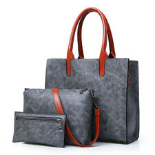 Women Leather Handbag Lady Shoulder Bag Satchel Messenger Purse Tote Set 3Pcs